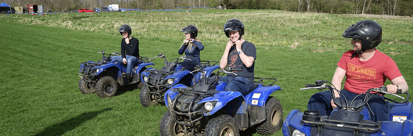 Leisure Group getting ready to go quad biking with Great Away Days in Edinburgh